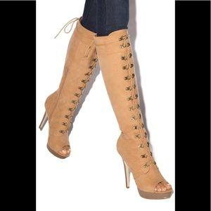 NWT Size 10 Shoe Dazzle Faux Suede Open Toe Boots